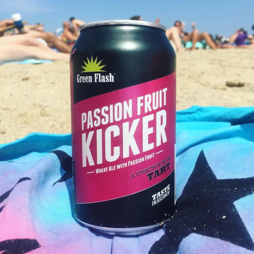 """""""These are the days. Fruity, funky, fresh. #Beeroftheday #newfavorite #beer #craftbeer #greenflash #passionfruit #thekicker #wheatale #saturday #beachday #southboston #southie #boston #mstreetbeach #beach #instagood #cheers #beergram @greenflashbeer #beercan #candesign #packagedesign"""" via itsmad3line on Instagram"""