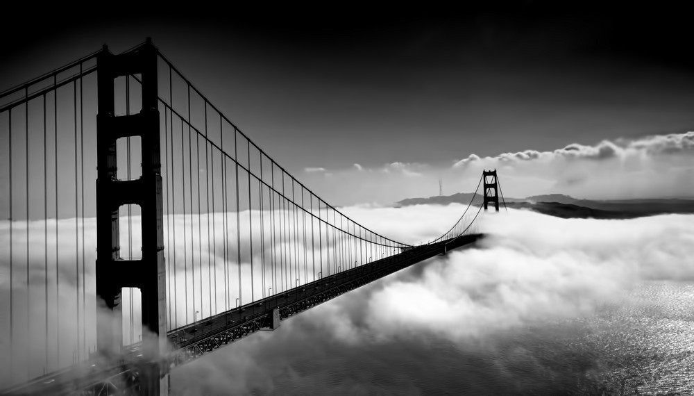 Golden Gate Bridge Black And White Photo Wall Black And White Picture Wall Black And White Aesthetic