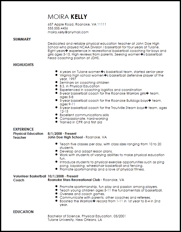 simple resume examples coaching soccer