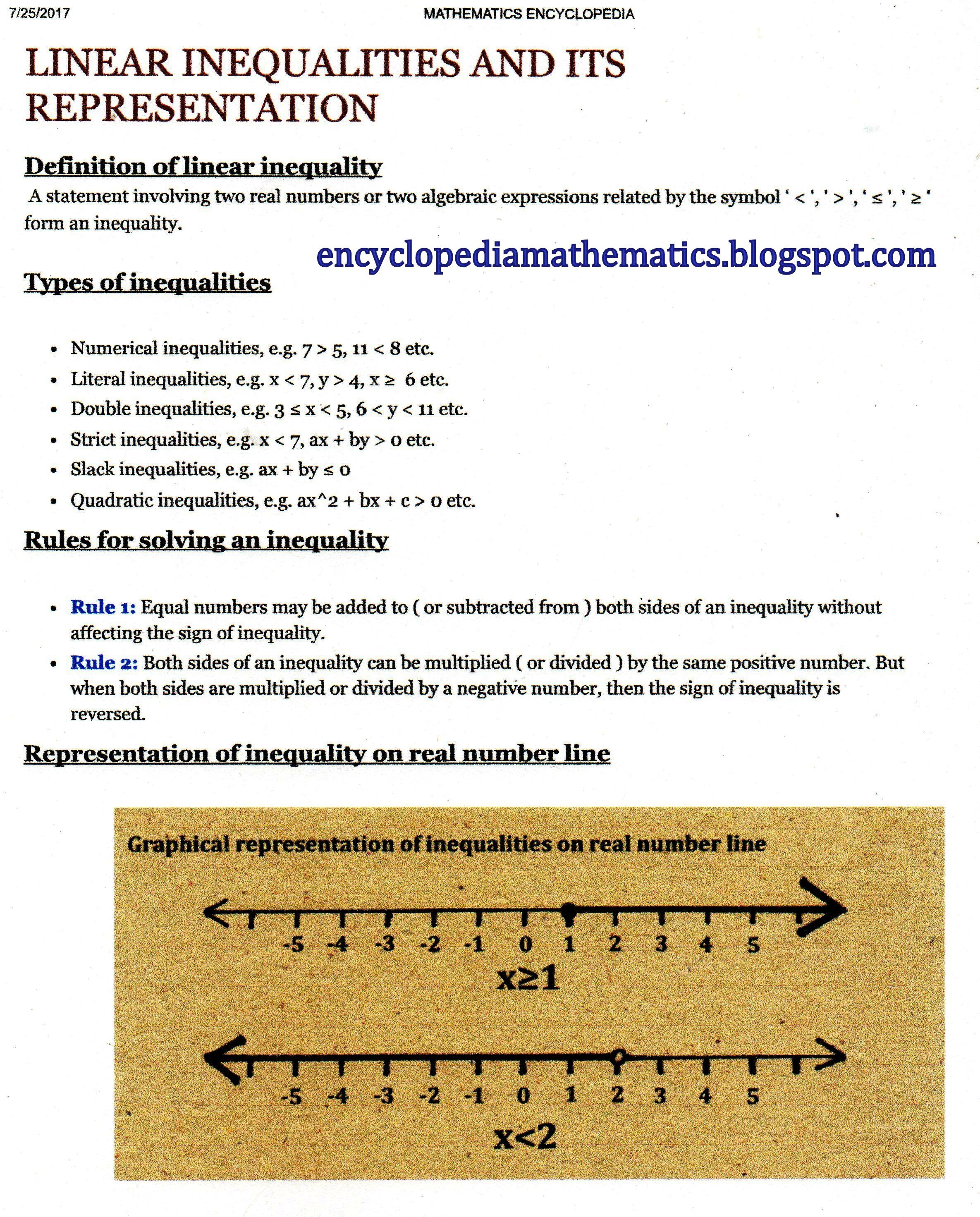 Linear Inequalities And Its Representation Algebraic Expressions Linear Inequalities Mathematics