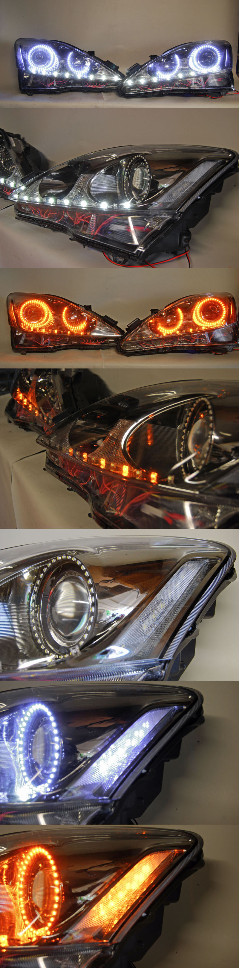 Black Chrome Isf Headlights W Srlss Clear Side Reflectors And Switchback Angel Eyes Car Accessories For Guys Bling Car Accessories Girly Car Accessories