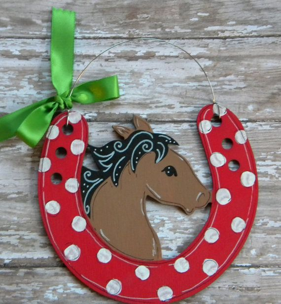 Horse Ornament painted wood personalizedhand by HazelMartinDesigns