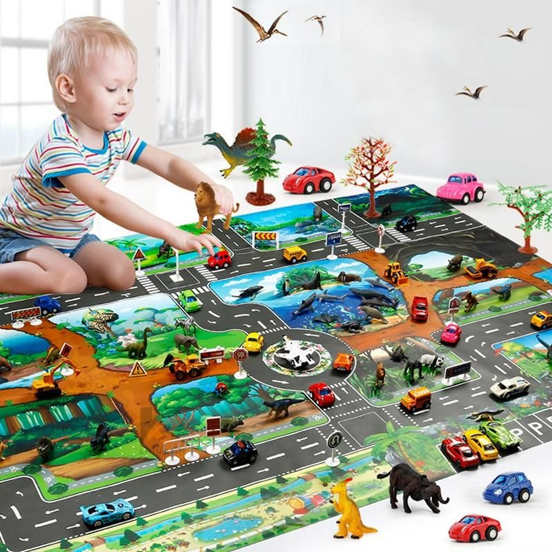 Children Dinosaur City Map Model Toy Indoor Crawling Mat Game Pad 130 100cm Family Interactive Toys For Childrens Mats Baby Play Mat Educational Toys For Kids