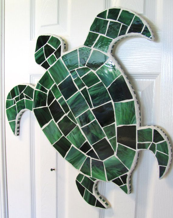 Stained Glass Mosaic Sea Turtle Shape Wall By