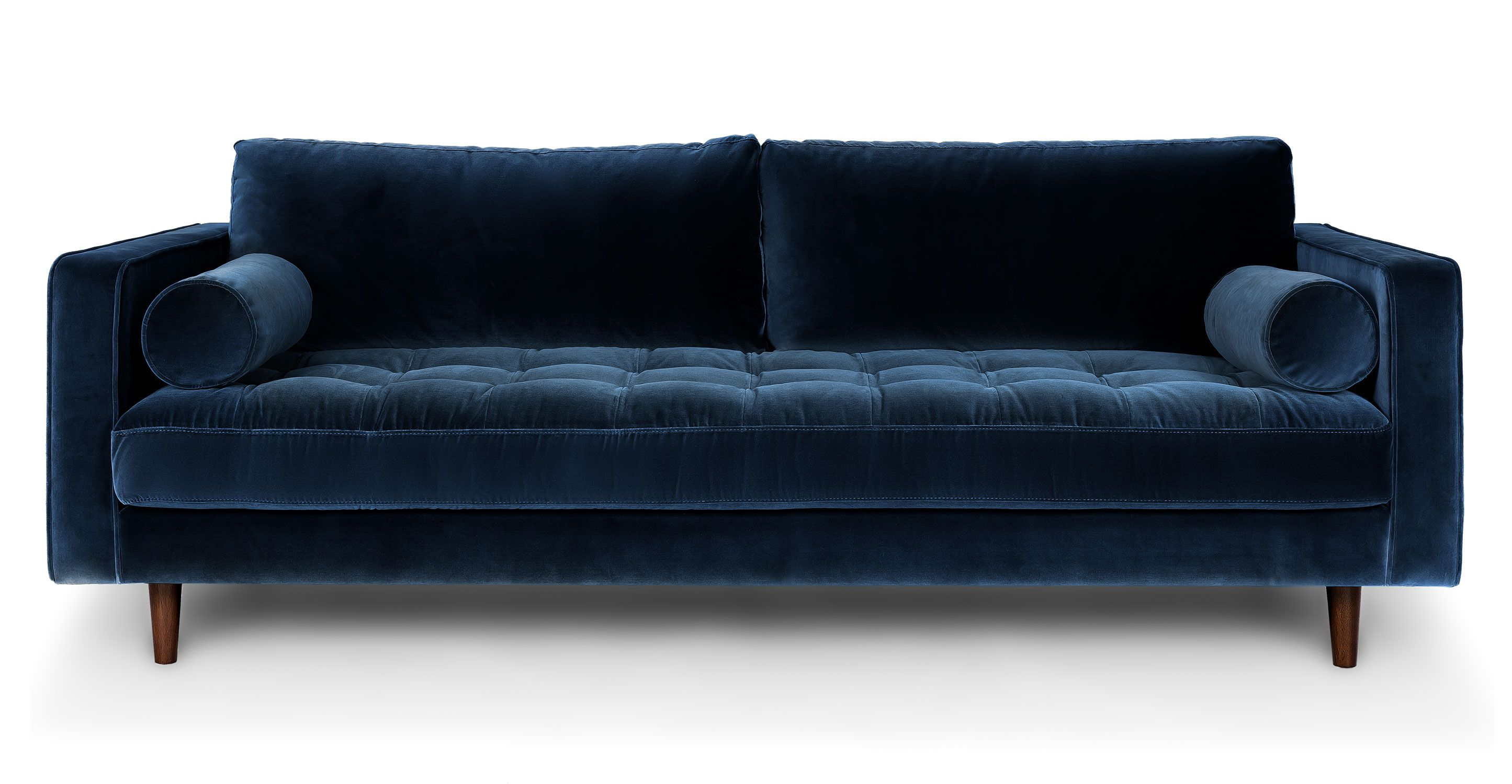 Blue velvet tufted sofa upholstered article sven for Modern love seats