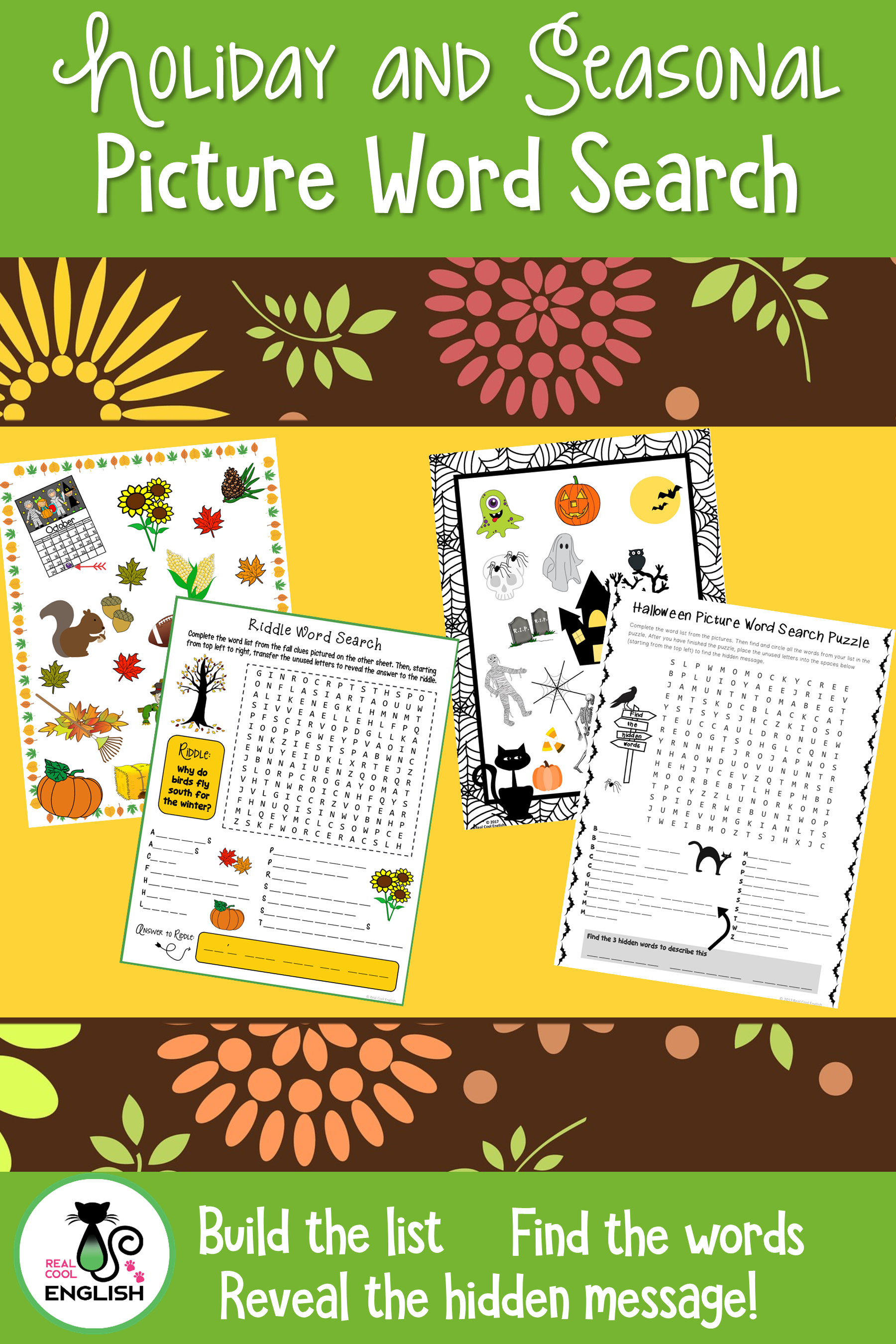 Holiday and Seasonal Puzzles - Picture Word Search Bundle