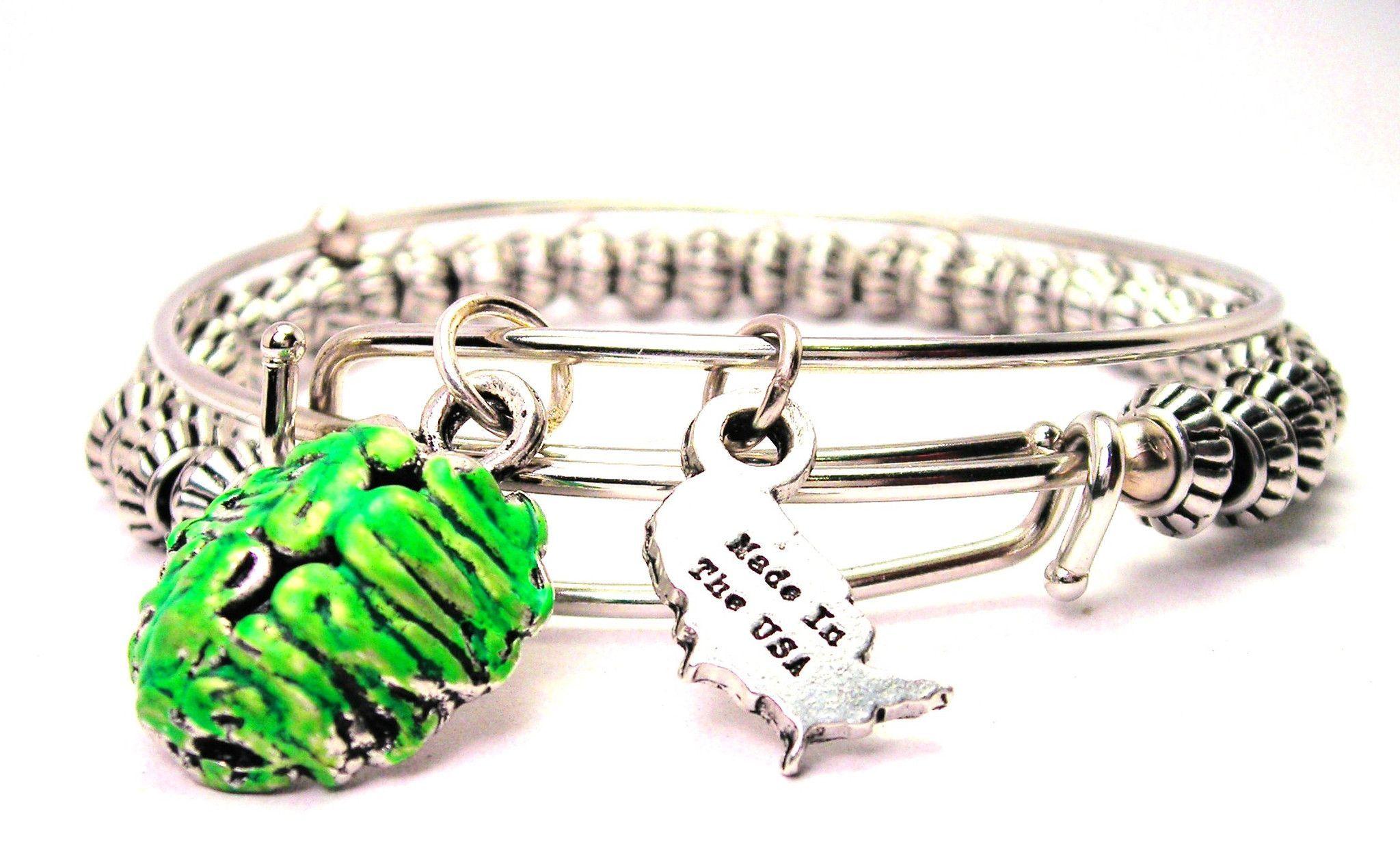 Green brain zombie lover pewter beaded bangle bracelet set of
