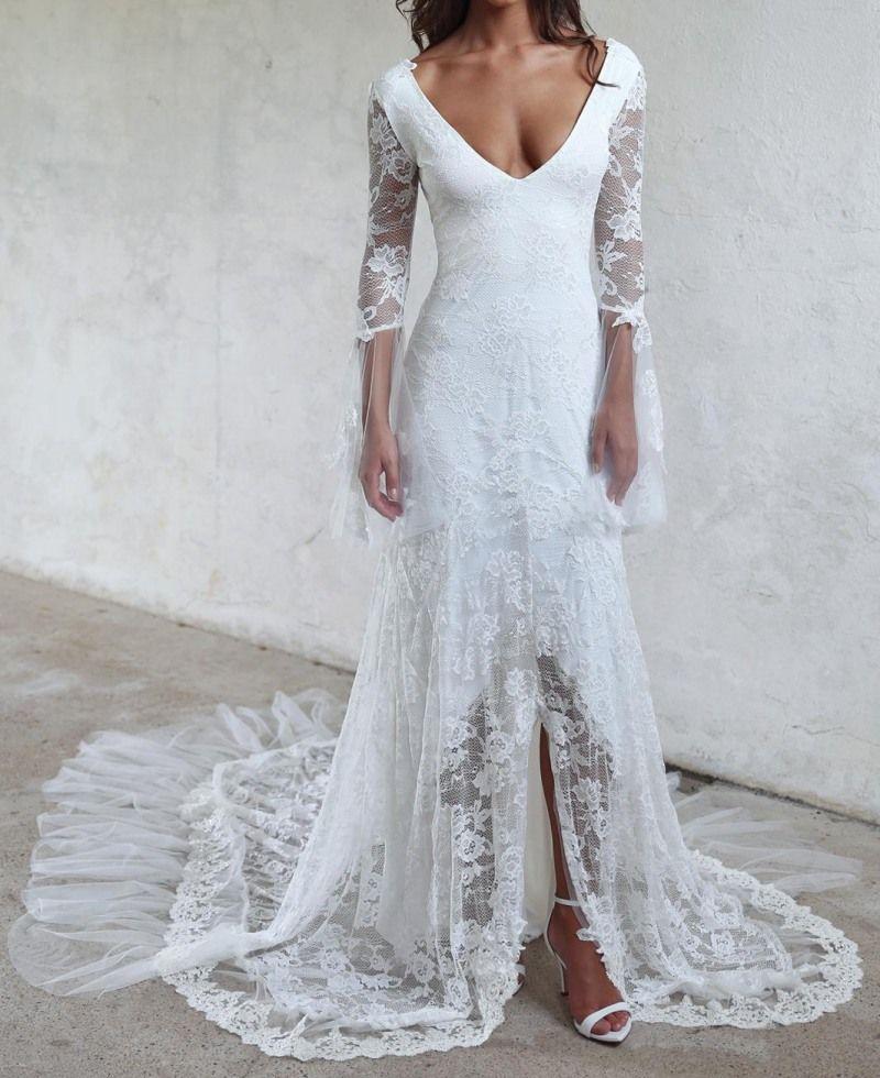 Free Shipping] Buy Best Unique Design Vintage Lace Wedding Dresses ...