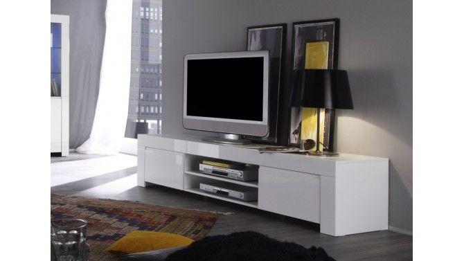 Meuble Tv Laque Blanc 190 Cm Avec Portes Et Etagere Naomi