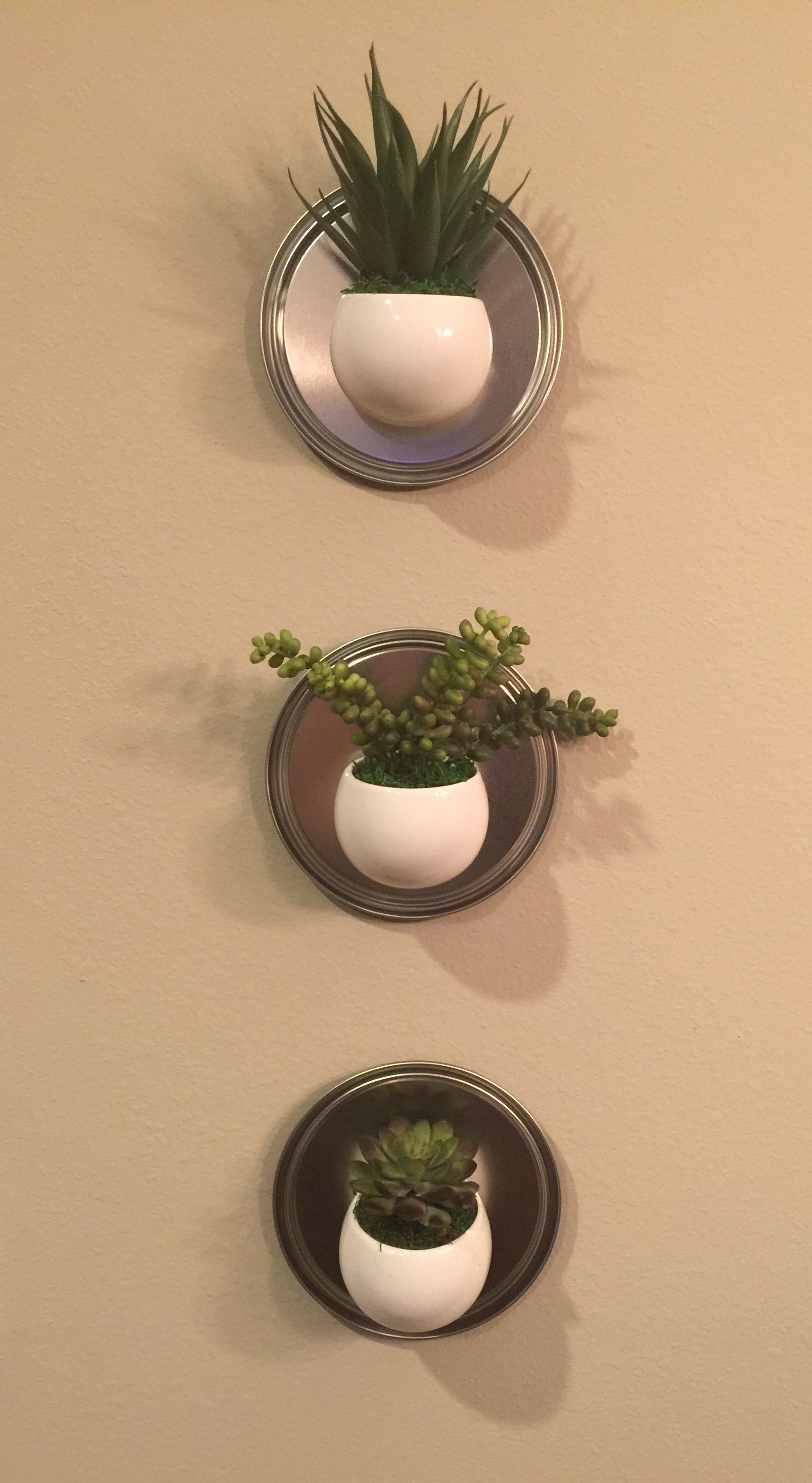 Paint can lids (Home Depot) and magnetic pots (Walmart) for decor on ...