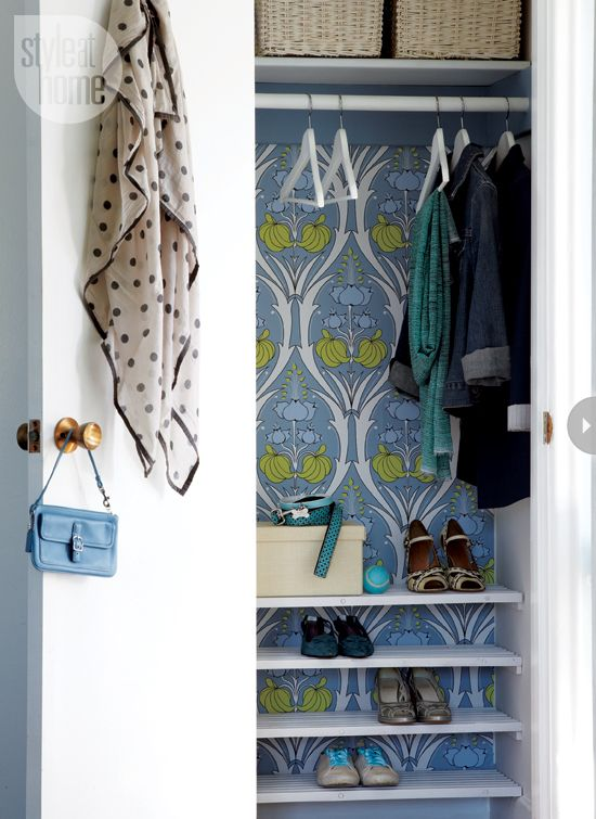 Use wallpaper inside the closet Cool closetA closet backed with a bold printed wallpaper is a secret surprise just waiting to be revealed.