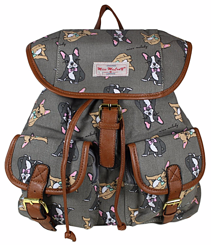 A grey backpack rucksack with a French Bulldog print The
