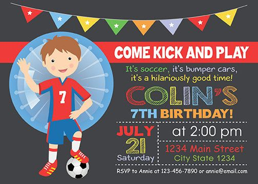 Bubble Soccer Birthday Invitation, Digital Printable Invitation in