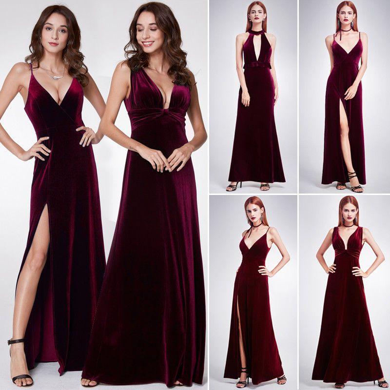 Burgundy dress Spring dress Velvet dress Fashion dress Autumn dress halter dress Mini dress for woman Evening Dress Wedding dress Occasion