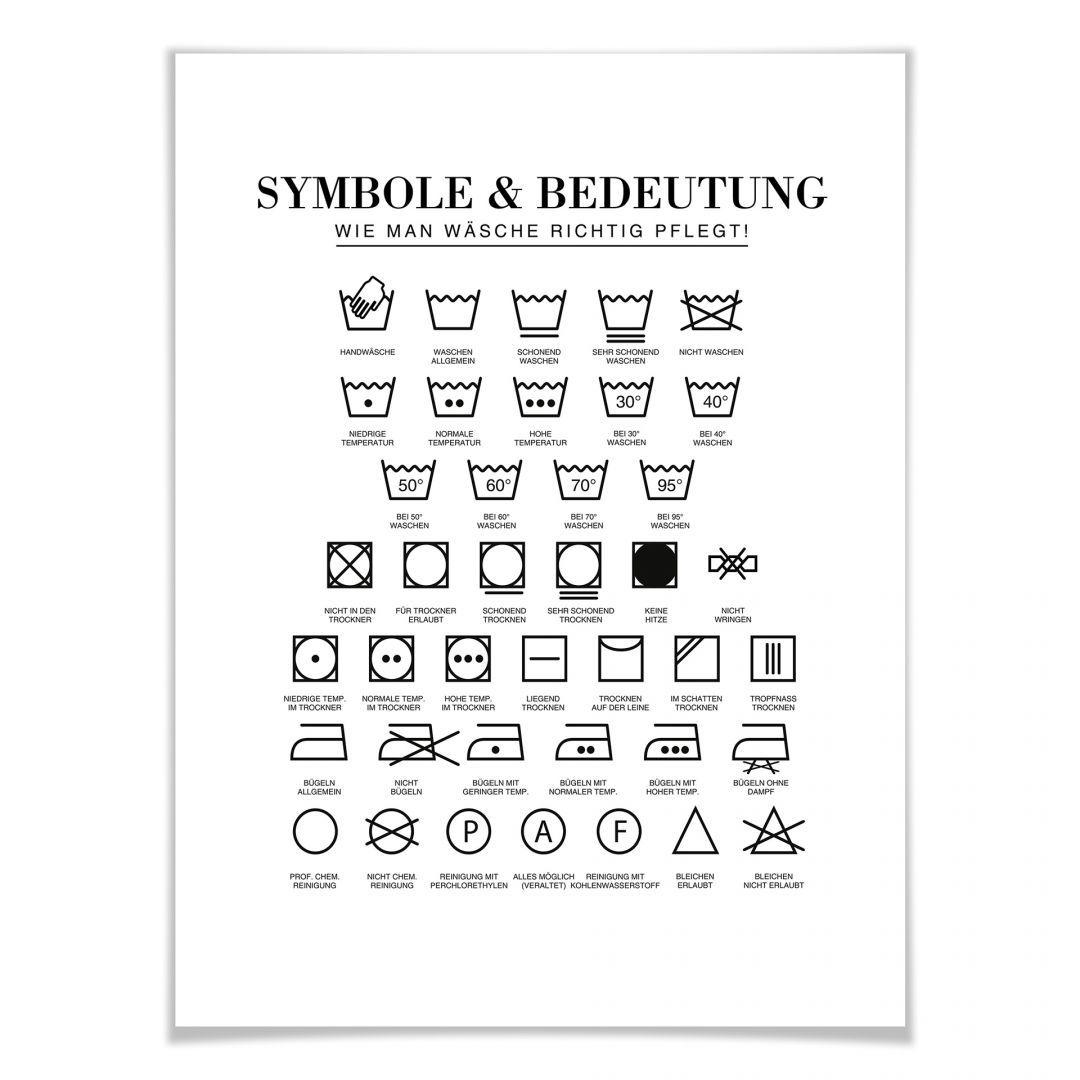 Typografisches Poster Symbole Wie Man Wasche Richtig Pflegt Wandbild Wanddeko Wandspruch Spruche Und Zitate Waschsymbole Typografie Zitate Wandspruche