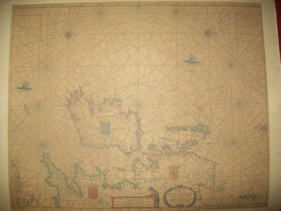 Replica 1665 Dutch Seachart of the Irish Sea with Ireland with the neighboring England and Scotland #irishsea