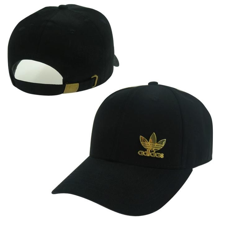 209d77fef54 Men s   Women s Unisex Adidas Originals Gold Metal Iconic Logo Strap Back  Baseball Adjustable Hat - Black