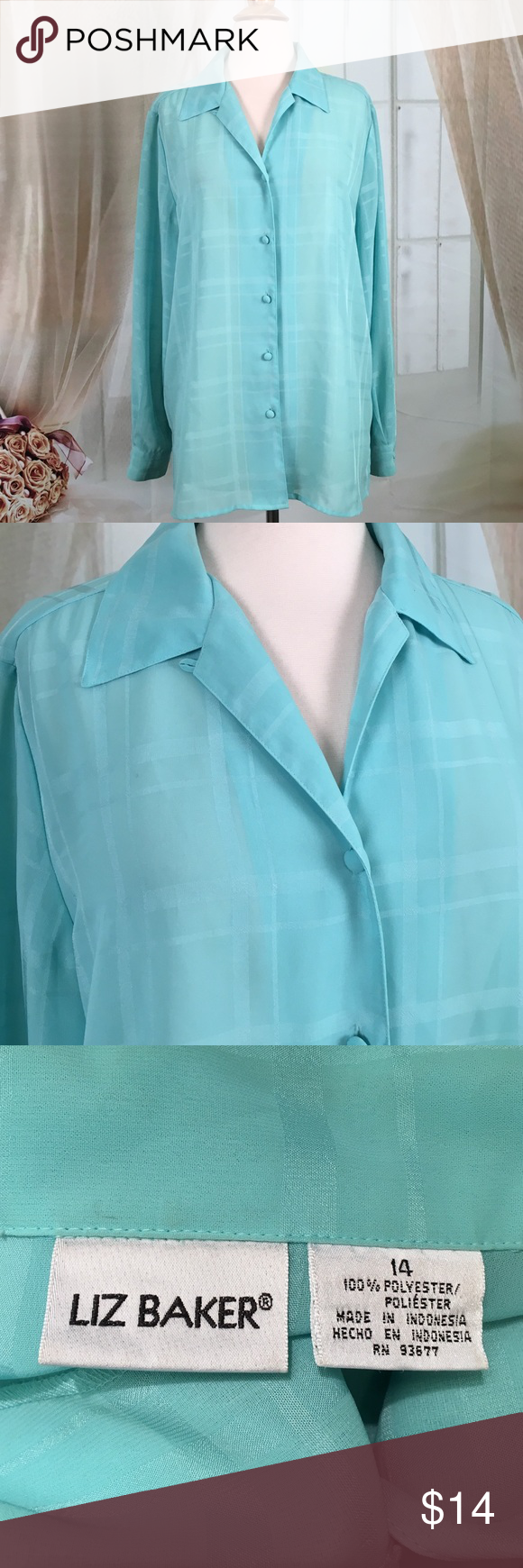 """Liz Backer Teal Long Sleeved Blouse Beautiful teal longsleeved blouse. 100% polyester. Great condition. Size 14. Bust 44 and length 28"""".  All measurements are approximate. Offers are always welcome.  TB107 LOC-1 Liz Baker Tops Blouses"""