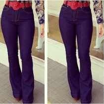 Calça Jeans Feminina Hot Pants, Cintura Alta, Disco, Flare