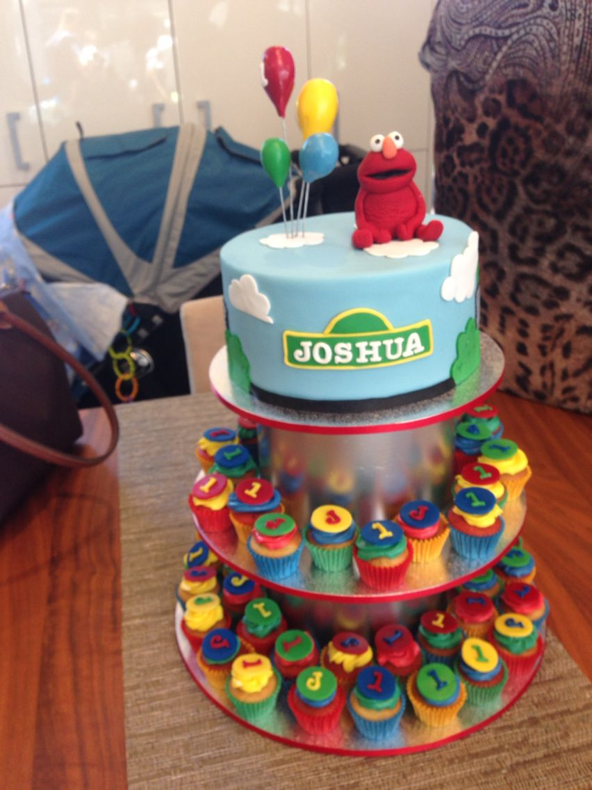 Sesame Street cake with mini cupcakes Edible Magic Cake