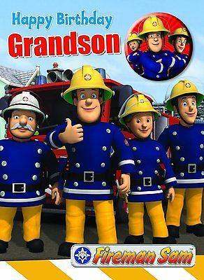 Fireman Sam Happy Birthday Grandson Birthday Card Badge New Gift Cards Stationery Celebrati Grandson Birthday Cards Fireman Sam Happy Birthday Grandson
