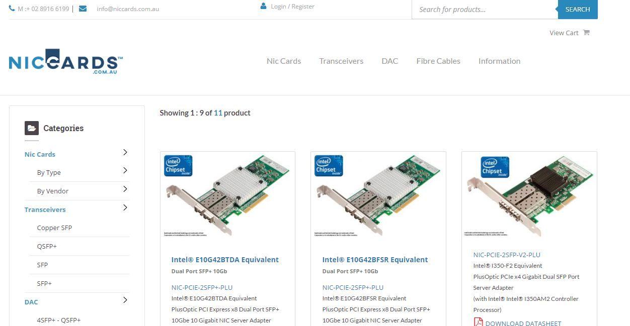 Niccacrds offer intel x520 sfp+ ,intel x540 ,intel x540 sfp+