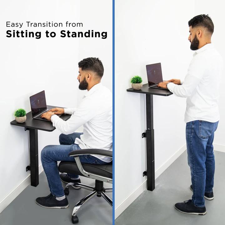 Sit Stand Laptop Wall Mounted Desk Mi 7989 In 2020 Wall Mounted Desk Standing Wall Desk Adjustable Height Desk