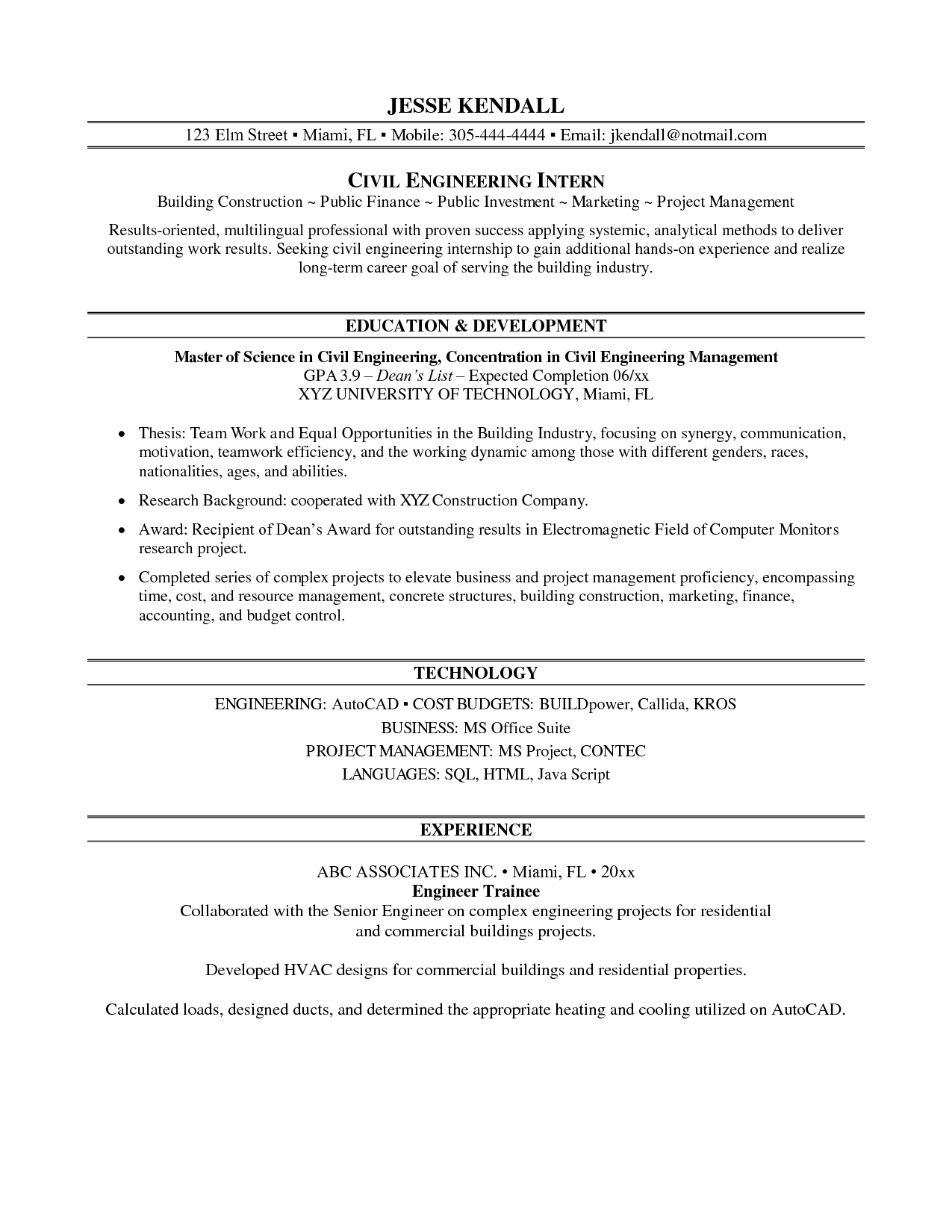 Internship Engineering Resume