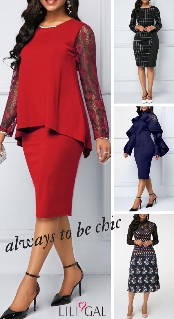 abde4111aa4 New arrived classy dresses including black grid print sheath dress ...