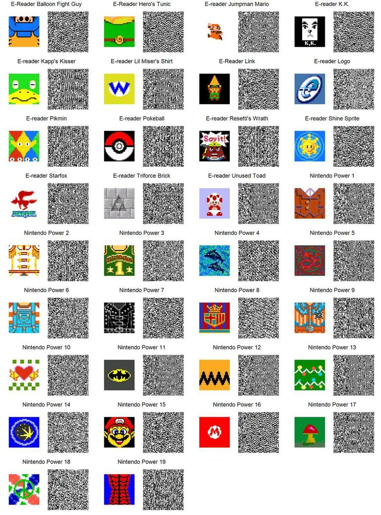 ACNL QR Code Converted EReader Patterns (If too small