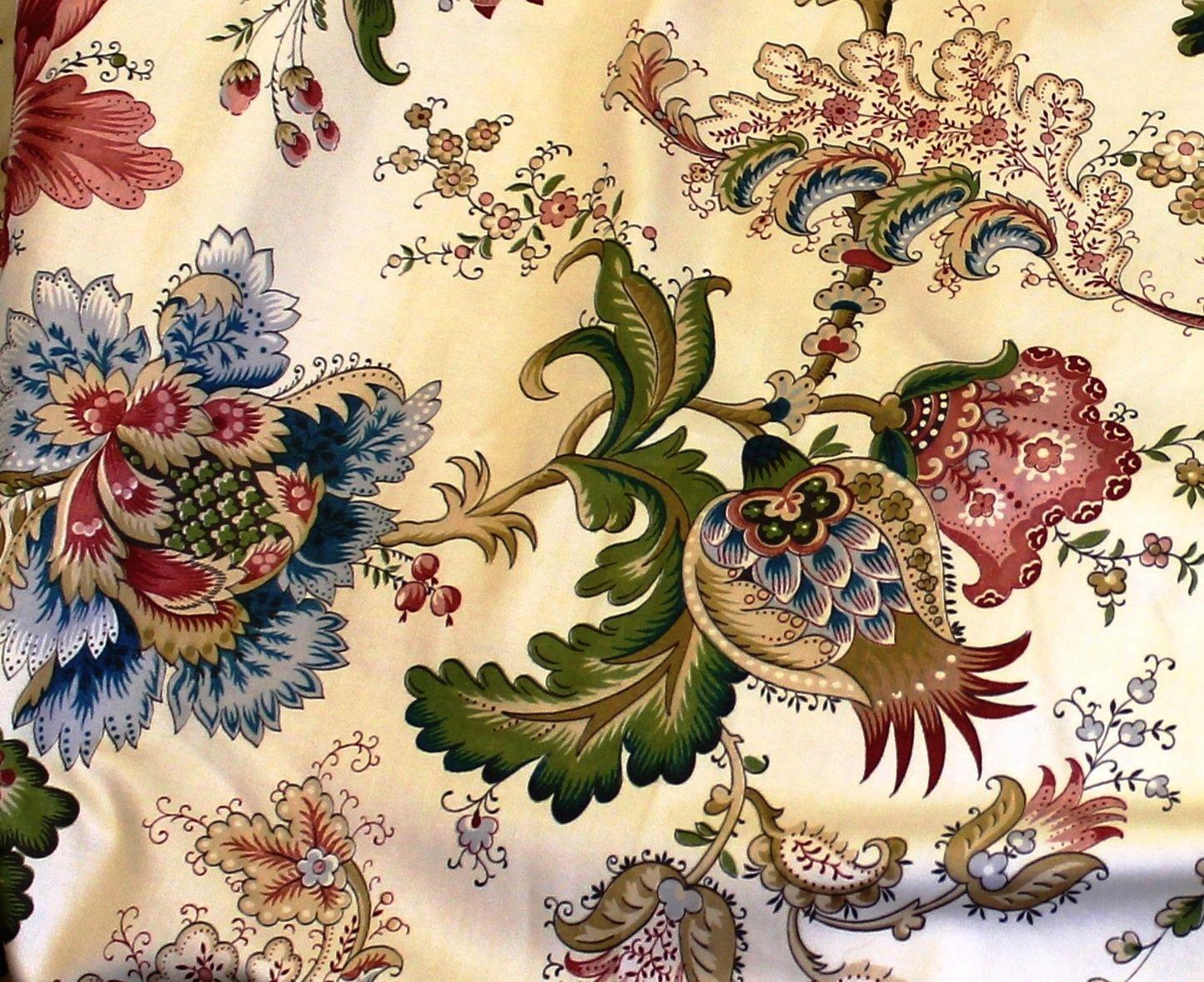 La Maison Lafortune Vintage Jacobean Floral Fabric In