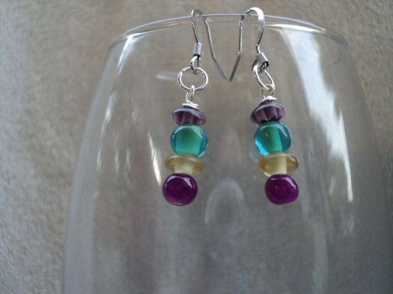 Mixed Lampwork Glass Dangle Earrings by Tehanu231 on Etsy