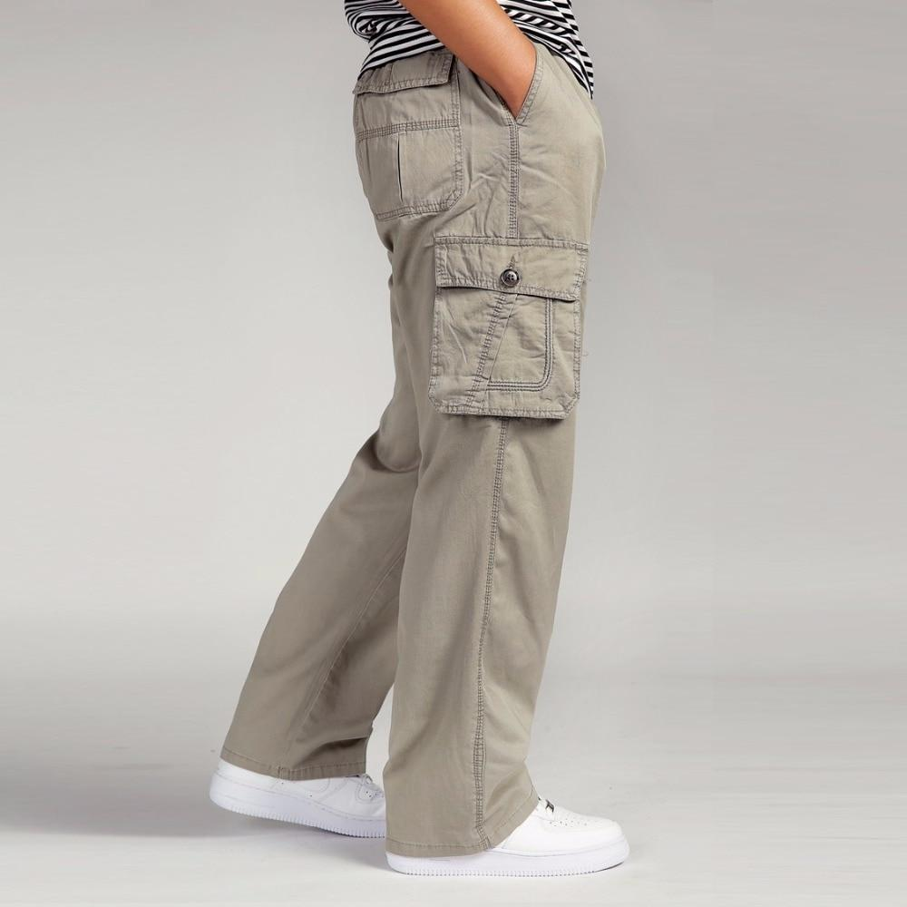 Mens Overalls Trousers Wide Leg cotton Elastic Waist Cargo Loose Military Pants