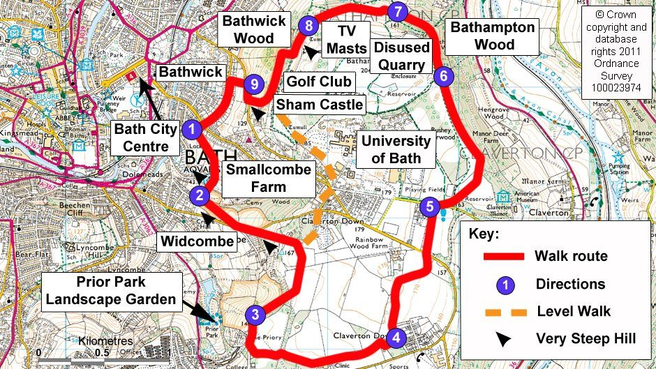 Map route for Bath Skyline walk | Britannia in 2019 ... on map a path, map a drive, map a course, map a run, map a cut, map a distance, map a process,