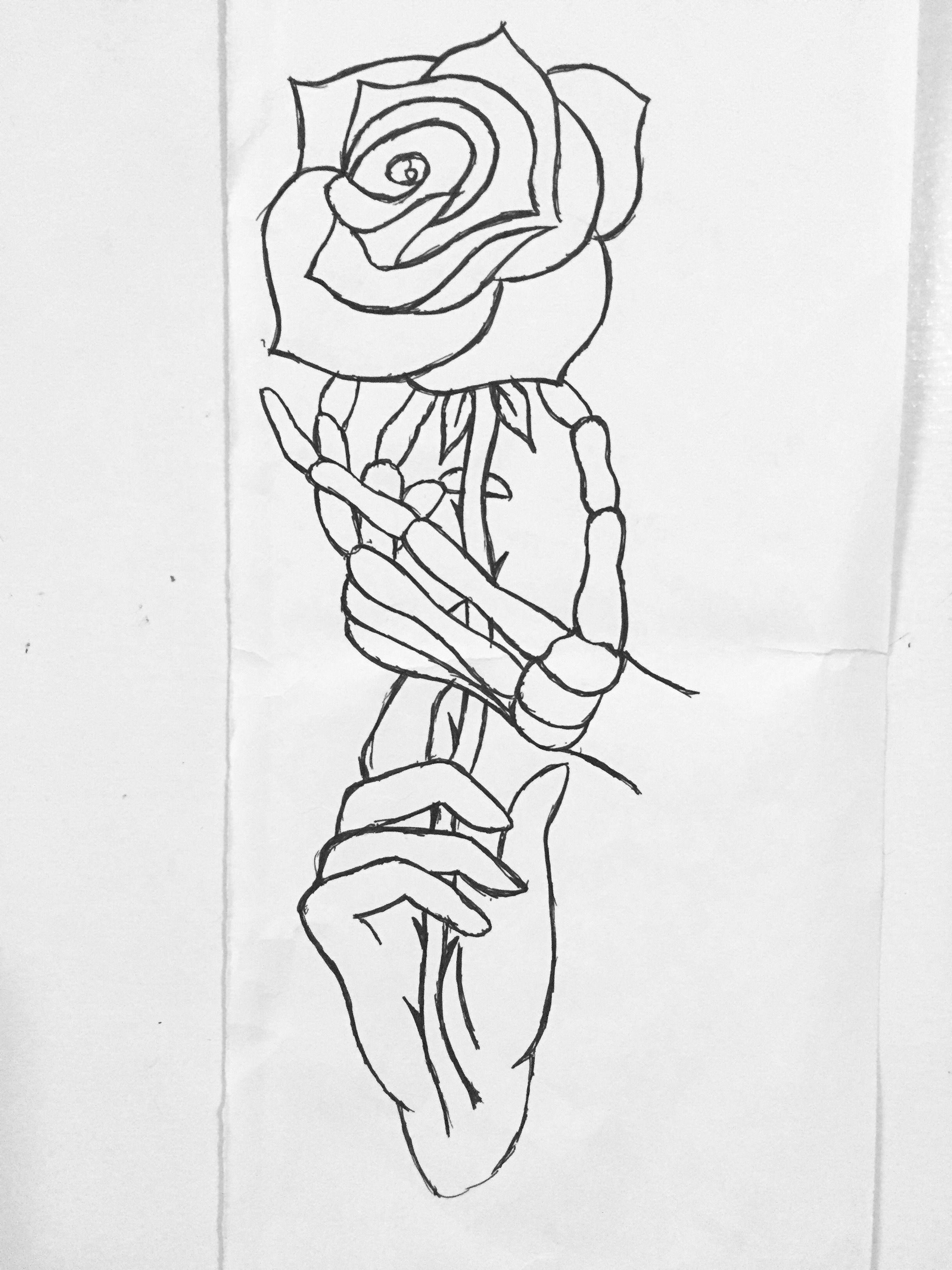 Hand Drawings Roses And Skulls: Skeleton Skull Hand Drawing Rose Tattoo Line Art Devil God