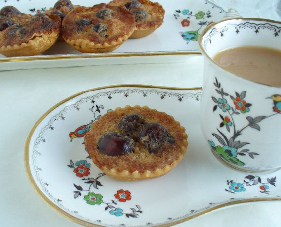 CHERRY BUTTER TARTS one dozen by Marmalady on Etsy (Home & Living, Food & Drink, Baked Goods, Pastries, cherries, cherry, butter, tart, uk, tea time, food, marmalady, cherry tart, butter tart, cherry butter tart, small tart, tartlet)