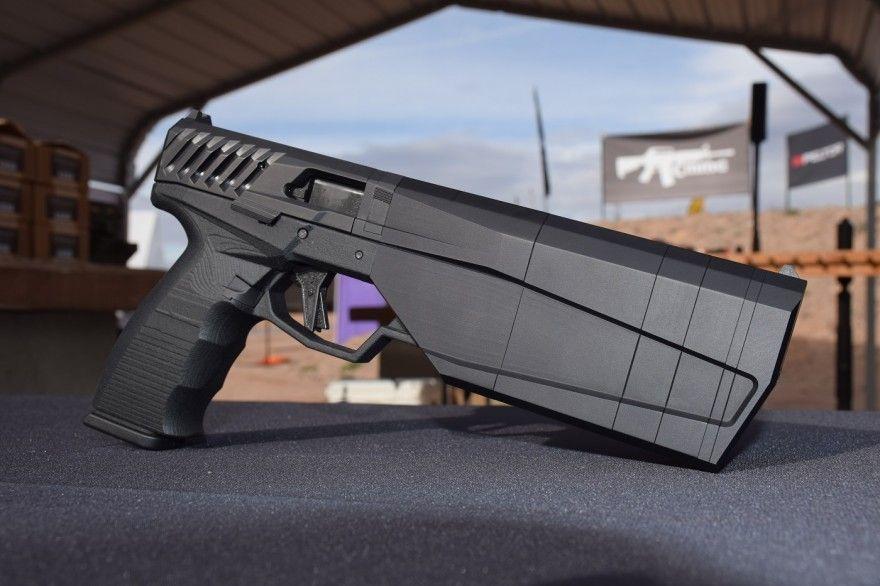 The SilencerCo Maxim 9 integrally suppressed pistol.