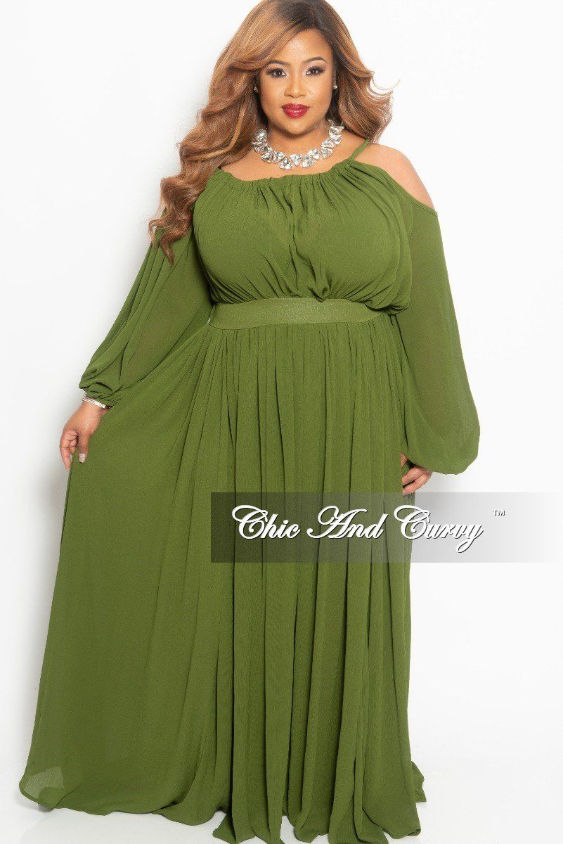 52972330f96 Plus Size One Sided Cold Shoulder Long Chiffon Dress in Olive – Chic And  Curvy