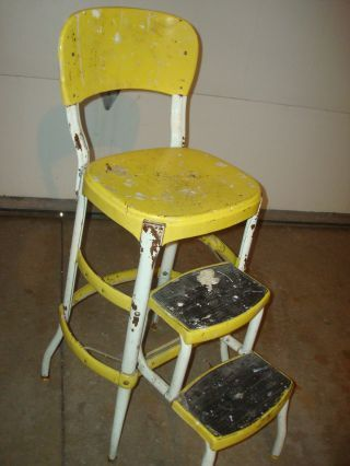 Superb Vintage Retro Yellow Cosco Step Stool Mid Century Kitchen Ocoug Best Dining Table And Chair Ideas Images Ocougorg