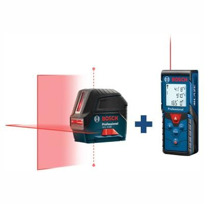 Bosch 65 Ft Self Leveling Cross Line Laser Level With Plumb Points And Bonus 165 Ft Laser Measurer With Area And Volume Ceiling Grid Recycling Programs Plumbing