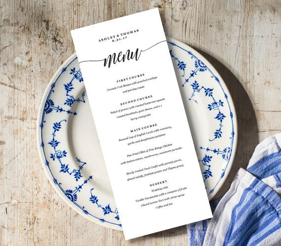 Menu Card Template, Rustic Dinner Menu, Wedding Menu Card - dinner card template