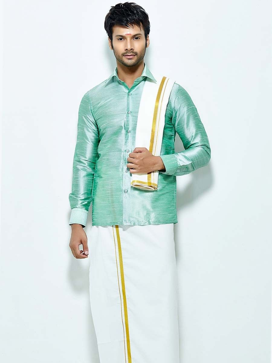 2a97f58a9c Glowing pastel green color raw silk shirt comes with white color cotton  dhoti and angavastram.