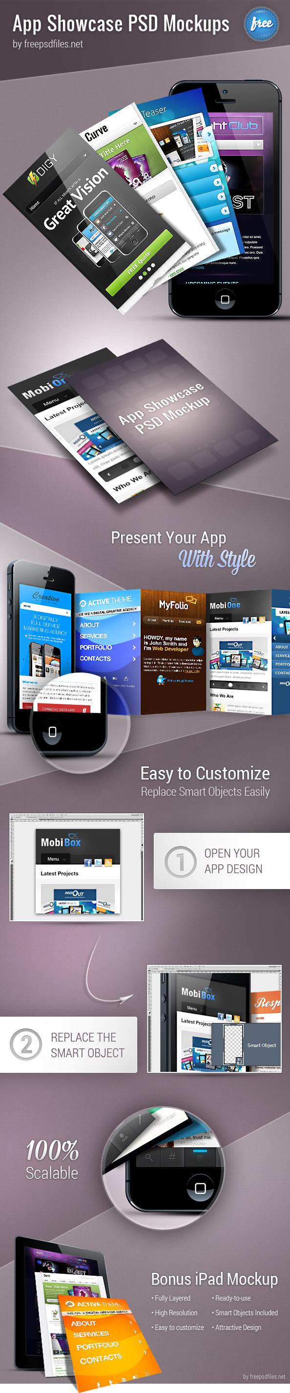 Free App Showcase PSD Mockups