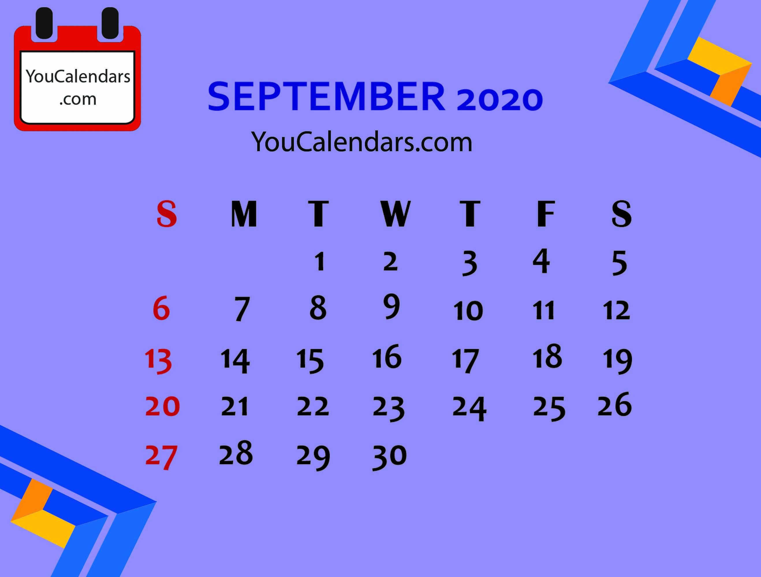 Free September 2020 Calendar Printable Template Calendar