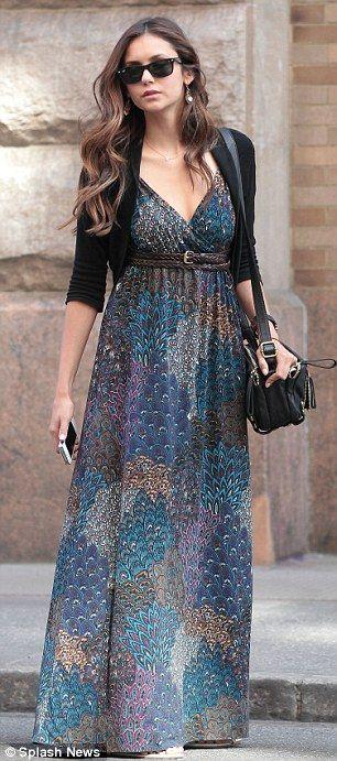 Nina Dobrev maxi dress.  Love her look!