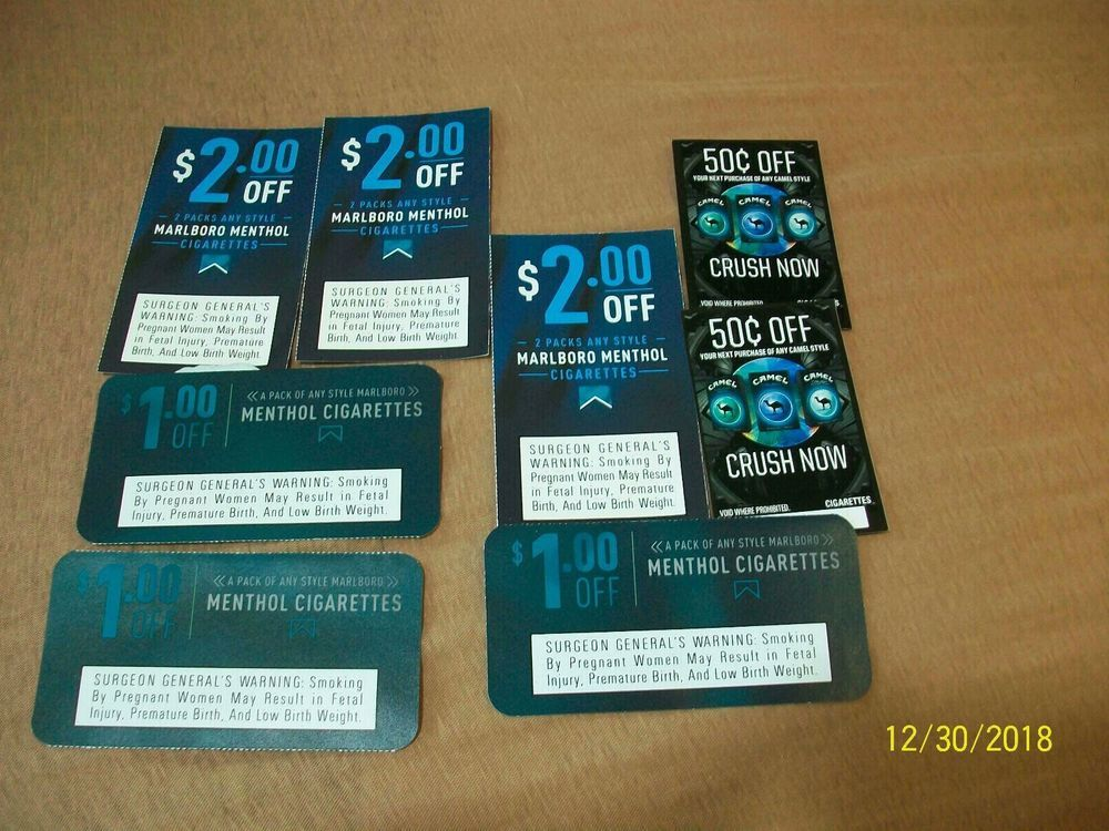 Marlboro Cigarette Coupons Camel Crush Worth $10: $1 04 (2