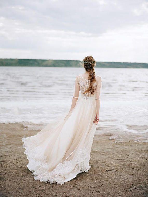 Nude wedding dress, bohemian wedding dress, boho wedding dress ...