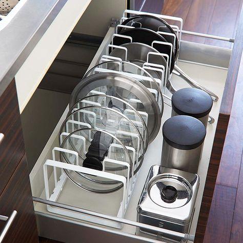 Tower シンク下 フライパン 鍋蓋スタンド 画像あり キッチン 収納