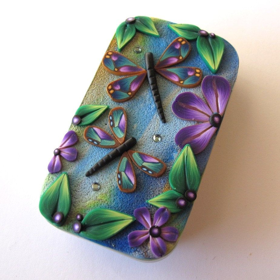 Dragonfly Garden Slide Top Tin Sewing Needle Case