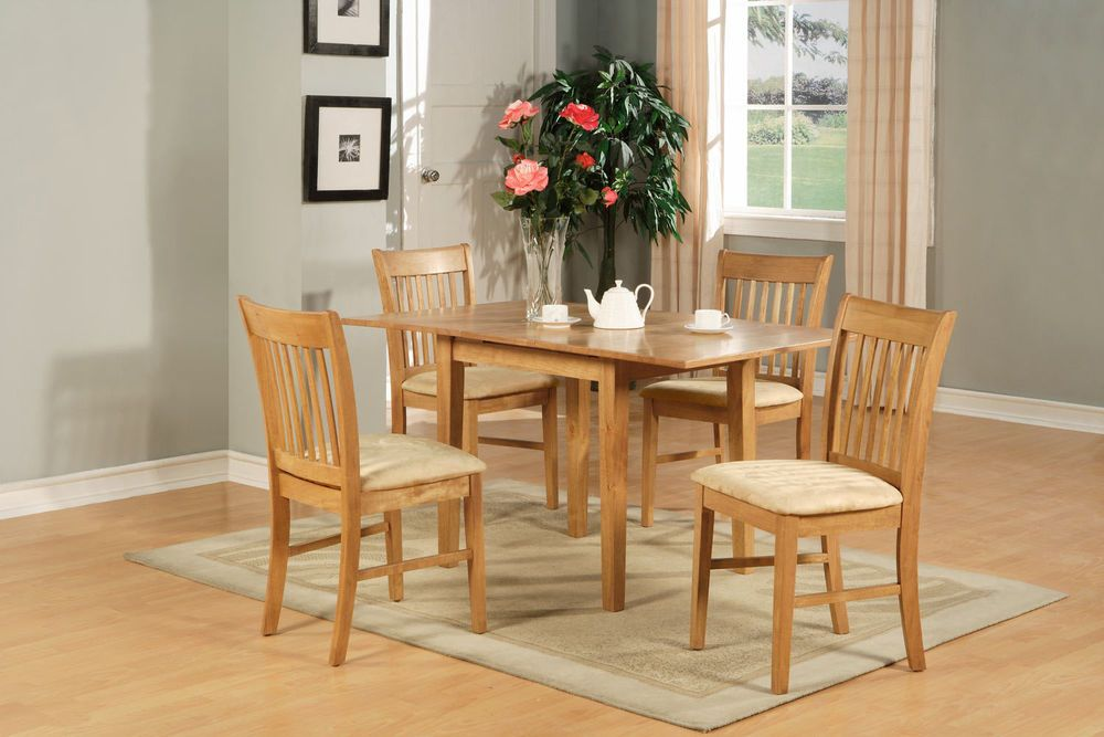 5pc Norfolk Rectangular Dinette Kitchen Dining Table 4 Padded Chairs In Oak Small Kitchen Table Sets Square Kitchen Tables Kitchen Table Oak